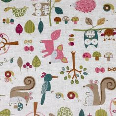 Fox, owl, squirrel, bird, turtle with tree