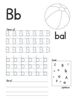 Afrikaans Alfabet A en B werkskaarte - KraftiMama Grade R Worksheets, Letter Tracing Worksheets, Preschool Learning Activities, Preschool Worksheets, Afrikaans Language, Alphabet Templates, Preschool Writing, Alphabet For Kids, Kids Education
