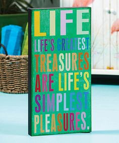 Green 'Life' Wall Art