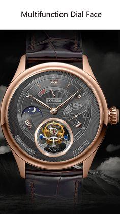 Switzerland Tourbillion Mechanical Watch Mens Luxury Brands, Mechanical Watch, Classic Man, Luxury Watches For Men, Watch Brands, Fashion Watches, Leather Case, Luxury Branding, Mens Fashion