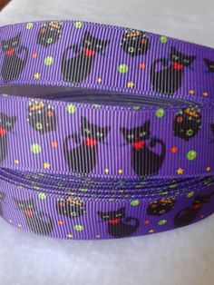 Black Cat Grosgrain Ribbon by ILoveYouMoreCreation on Etsy