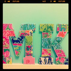 Monogram Letters . Decoupage . Patchwork . old lilly planner pages cut to look like patches and mod podged onto wood letters
