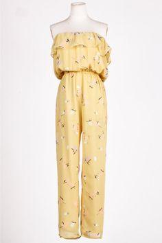 570d576e3d Light Yellow Ruffles Mid Waist Jumpsuit Ruffle Jumpsuit