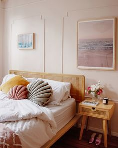 I love everything about this bedroom - detailed panelling, pink walls, rattan furniture and shell cushions - such a stylish space with a midcentury modern feel. Bedroom Inspo, Home Bedroom, Bedroom Decor, Shabby Bedroom, Pretty Bedroom, Railroad Apartment, Urban Outfitters Home, Pink Walls, Pink Bedroom Walls