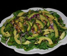 on the Vine: Spinach and Avocado Salad with a Basil Vinaigrette, tomato basil salad, Spinach Salad with Tomato and . Tomato Basil Salad, Spinach Salad, Avocado Salad, Baby Spinach, Guava And Cream Cheese, Raw Food Recipes, Dinner Recipes, Baked Spaghetti, Vegetable Dishes