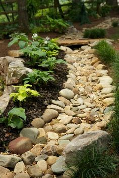 River Rock Landscaping, Landscaping With Rocks, Front Yard Landscaping, Landscaping Ideas, Mulch Landscaping, Walkway Ideas, Gravel Garden, Lawn And Garden, Landscape Plans