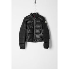 Moncler Moncler Clematis Jacket (¥206,775) ❤ liked on Polyvore featuring outerwear, jackets, black, long sleeve jacket, straight jacket, moncler jacket, snap jacket and quilted leather jacket