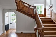 To update stairs, add little details to the outside of the steps and find a more curvy balustrade.