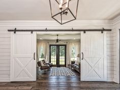 Fixer upper barndominium More Remember the barn Chip and Joanna completely renovated into a stunning home? Well, now you can rent the Fixer Upper Barndominium for your next getaway! Fixer Upper Barndominium, Door Design, House Design, Double Barn Doors, Barn Door Hardware, Door Latches, Interior Barn Doors, Future House, House Ideas