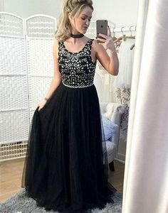 Long Black Prom Dresses,Beaded Party Dress Long,Evening Formal Gowns for Teens,Long Prom Dresses Plus Size,Long Graduation Dresses Elegant Prom Dresses, Dresses Short, Prom Dresses 2018, Black Evening Dresses, Black Prom Dresses, Cheap Prom Dresses, Prom Party Dresses, Evening Gowns, Prom Gowns