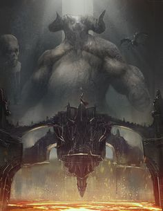 ArtStation - Temple of Orcus, Colin Chan Fantasy Dwarf, Fantasy Demon, Fantasy City, Fantasy Places, Dark Fantasy, Dungeons And Dragons Pdf, Warlock Dnd, Necromancer, Dark Power