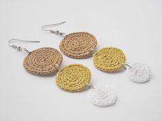 Crochet earrings unique textile jewelry Valentine's by wincsike, $15.00