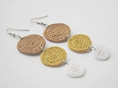 Crochet earrings unique textile jewelry Valentine's by wincsike, $15.00