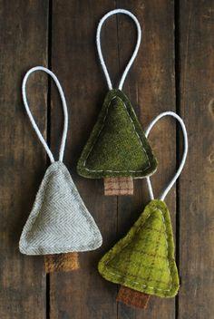 coole hängende tannenbäume selber basteln - aus stoff
