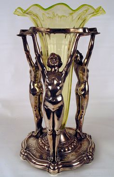 Superb Art Deco Figures Holding Vaseline Glass Insert
