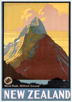 Fantastic A4 Glossy Print - 'New Zealand - Mitre Peak, Milford Sound' - Taken From A Rare Vintage Travel Poster (Vintage Travel / Transport Posters) by Unknown http://www.amazon.co.uk/dp/B005T9K246/ref=cm_sw_r_pi_dp_XvVovb1WGEG5B