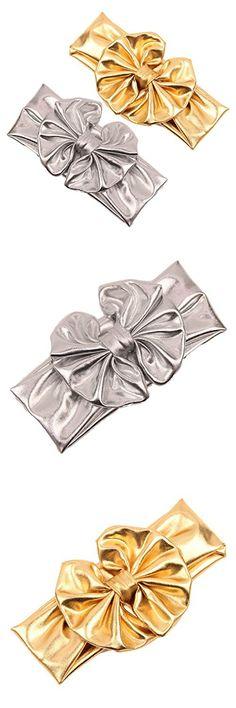 Baby Girls Bronzing Gilding Headband Floppy Metallic Messy Big Bows HeadWrap JA61 (Silver+Gold)