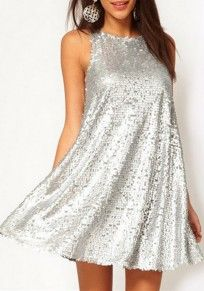 Sexy Women Silver Sequin Swing Dress O Neck Sleeveless Evening Party Club Mini Dress — , Vestidos Color Plata, Pretty Dresses, Beautiful Dresses, Donia, Mini Vestidos, Sequin Dress, Nye Dress, Dress Prom, Glitter Dress