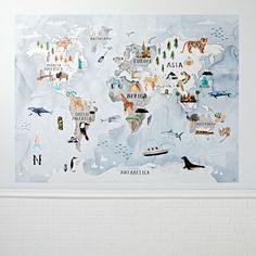 Watercolor World Map Mural Decal | The Land of Nod