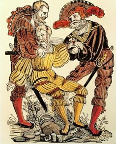 military physician and assistant treating a wounded soldier coloured woodcut by Niclas Meldemann print circa 1530 High Renaissance, Renaissance Fashion, Landsknecht, Late Middle Ages, Henry Viii, Historical Images, Modern Warfare, Old Master, Antiquities