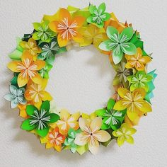 Vitamin Colors 。 #折り紙 #おりがみ #花 リース #ビタミンカラー #origami #origamiflower #paperflowers #papercraft