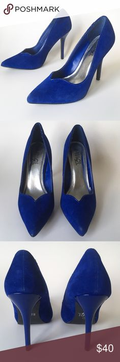 """SALE ⭐️ EUC Blue Suede Heels 👠 Gorgeous sapphire-blue faux suede 4.5"""" heels. Pointed toe with scalloped cut. """"Helium"""" make = comfy padding in the sole. Excellent pre-owned condition, minimal signs of use. Some light scuffs on the tips of the toes, a few barely noticeable scratches on the heels. Slight dent in inner left sole from storage, unnoticeable when worn. From a clean, smoke-free home. Please ask any questions before purchasing.  ✅ Offers Welcome  ✅ 20% OFF Bundles  ⛔️ No Trades  ⭐️…"""