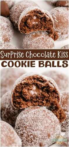 Surprise chocolate kiss cookies are soft and chocolaty cookies with a chocolate kiss hidden inside! Easy Kiss cookies rolled in sugar for a perfectly sweet chocolate treat. #cookies #chocolate #kiss #Hersheyskiss #baking #dessert #Kisscookies #recipe from FAMILY COOKIE RECIPES via @familycookierecipes Cheesecake Desserts, Köstliche Desserts, Delicious Desserts, Dessert Recipes, Strawberry Desserts, Dinner Recipes, Chocolate Chip Cookies, Chocolate Treats, Chocolate Recipes