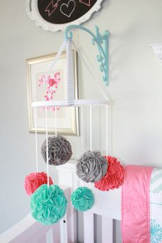 and Aqua Repurposed Nursery Project Nursery - Pom Pom Baby Mobile -- plant holder thing for attaching mobileProject Nursery - Pom Pom Baby Mobile -- plant holder thing for attaching mobile Girl Nursery, Girl Room, Nursery Decor, Nursery Ideas, Pom Pom Baby, Diy Bebe, Decoration Originale, Hanging Mobile, Project Nursery