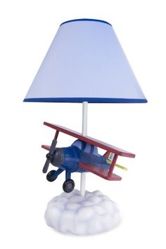 Airplane Table Lamp with Matching Night Light - Fantastic Hand Painted - Click image twice for more info - See a larger selection of kids table lamps at http://tablelampgallery.com/product-category/kids-table-lamps/ - home, home decor, home ideas, desk lamp , gift ideas, lightning, lamp, kids lamp