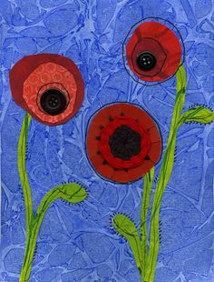 that artist woman: Poppy Mixed Media Worth reading the instructions on the site as it tells you how to create the textured background...so easy and effective.