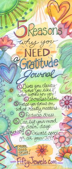 Start getting happier today! A beautiful Gratitude Journal will create AMAZING changes in your life. Pin for later & CLICK to find out more!  FiftyJewels.com