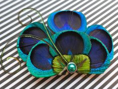 BRANDY Peacock Hair Fascinator Clip Headband Comb by Lucyohlucy, $18.00