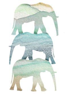 Watercolor Elephant Art Print via Etsy