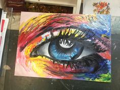 Eye knife painting by Irish artist Becs