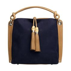 Love the bamboo trim tassels and rich indigo suede