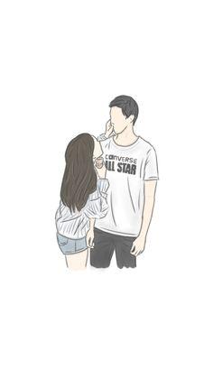 เเฟน Cute Couple Drawings, Cute Couple Art, Anime Love Couple, Cute Anime Couples, Cute Cartoon Wallpapers, Cute Wallpaper Backgrounds, Cute Couple Wallpaper, Wattpad Book Covers, Whatsapp Wallpaper
