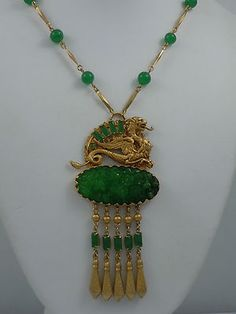 ASKEW LONDON DRAGON AND PEKING GLASS DROP NECKLACE