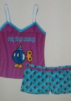 Super Mario Cami Boxer Set Pink L/G (11/13) #PajamaSet