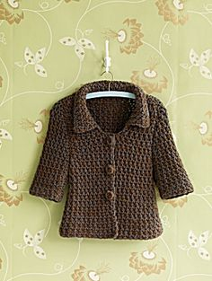 Free Crochet pattern for a cute jacket, from Lionbrand! Love its shape!