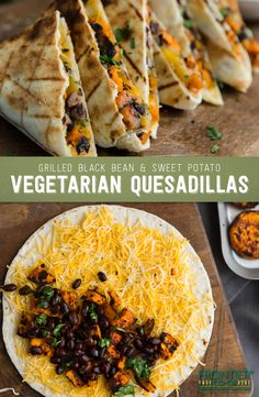 Black Bean and Sweet Potato Quesadillas - Get the party started with these scrumptious grilled quesadillas! They're perfectly spiced with s -Grilled Black Bean and Sweet Potato Quesadillas - Get the party started with these scrumptious grilled quesad. Tasty Vegetarian Recipes, Veggie Recipes, Mexican Food Recipes, Whole Food Recipes, Cooking Recipes, Healthy Recipes, Easy Recipes, Vegetarian Mexican Food, Crockpot Recipes
