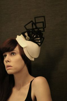 Cream and  Black Felt hat with Vintage Button Accent