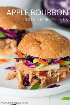 For an easy dinner or Game Day treat, pull out your slow cooker for these flavorful Apple Bourbon Pull Pork Sliders with Apple Slaw. #CampbellSauces #Ad @campbellkitchen