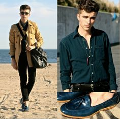 American Apparel Flannel Shirt, Trench Coat, Armando Cabral Patent Loafers, Asos Black Skinnies, Oliver Peoples Sunnies, L'atelier Des Montres Wooden Wtach