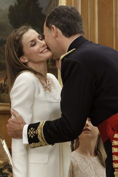 King Felipe and Queen Letizia show their love at the coronation.