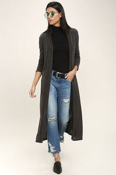 Light some candles and slip on the Rainy Night Charcoal Grey Long Cardigan Sweater for a cozy night in! Soft, lightweight stretch knit shapes this collarless cardigan with an extra long, open front bodice framed by long fitted sleeves.