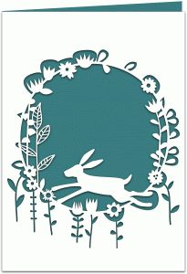Silhouette Design Store - View Design #69387: hare in the meadow papercut 7x5 card