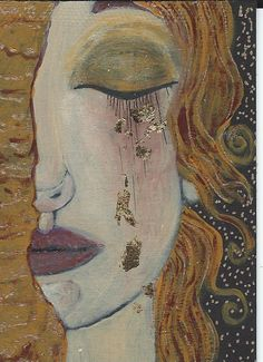 "In the style of Gustav Klimt - ""Golden Tears"" (My title)."