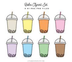 Wallpaper Backgrounds Aesthetic - Bubble Tea Boba Clipart Set Pink Yellow Blue Green Purple - Wallpapers World Tea Wallpaper, Wallpaper Backgrounds, Bubble Tea, Bubble Drink, Bubble Stickers, Cute Stickers, Milk Shakes, Cute Food Drawings, Aesthetic Stickers