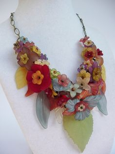 Autumnal Garland  Vintage Lucite Flowers in by hangingbyathread1, $56.00