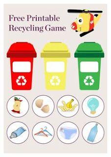 In Australia we have three different bins designated for different types of rub Rainbow Crafts Preschool, Free Preschool, Recycling Games, Green Bin, Earth Craft, School Readiness, Montessori Activities, Soft Plastic, Life Savers